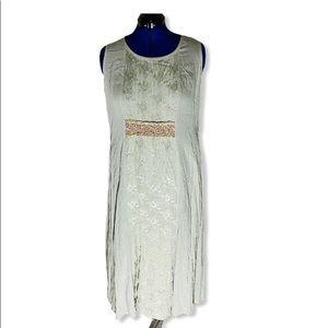 Vtg Spencer Alexis olive green dress 16 boho maxi